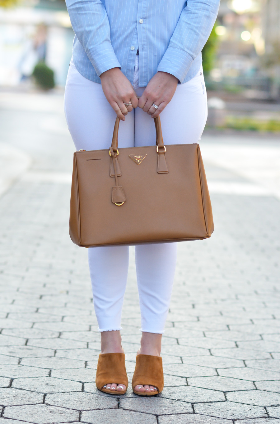 Peep Toe Mules Outfit | White Skinny Jeans + Button Down Shirt {Prada Saffiano Tote}