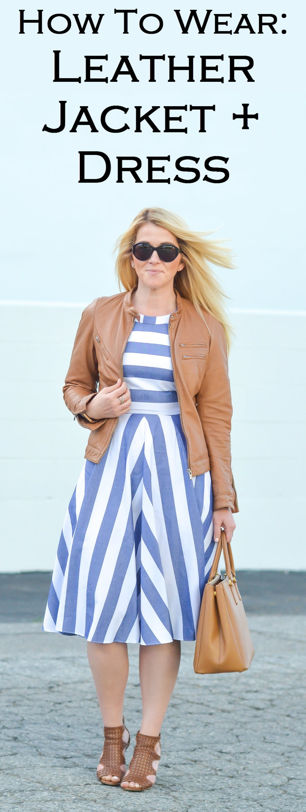 How to Wear Brown Leather Jacket and Dress Outfit Ideas. Blue and White striped dress with brown leather accessories and shoes!