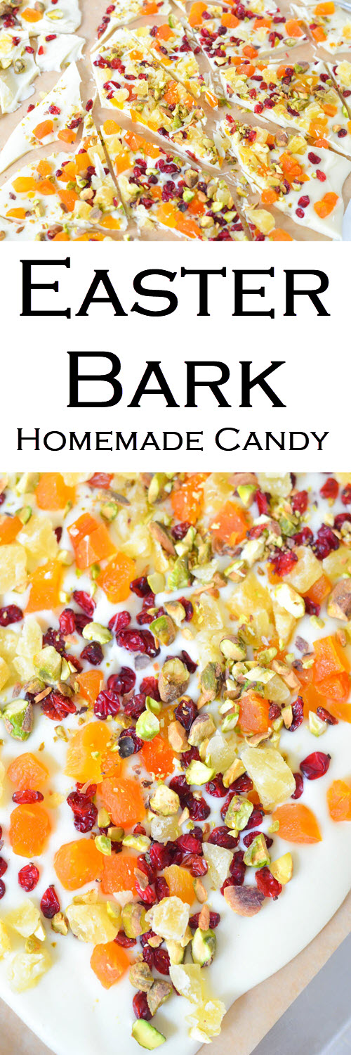 White Chocolate Easter Bark w. Dried Fruit for Spring#LMrecipes #candy #chocolate #whitechocolate #homemade #dessert #easter #spring #summer #foodblog #foodblogger #recipe #driedfruit