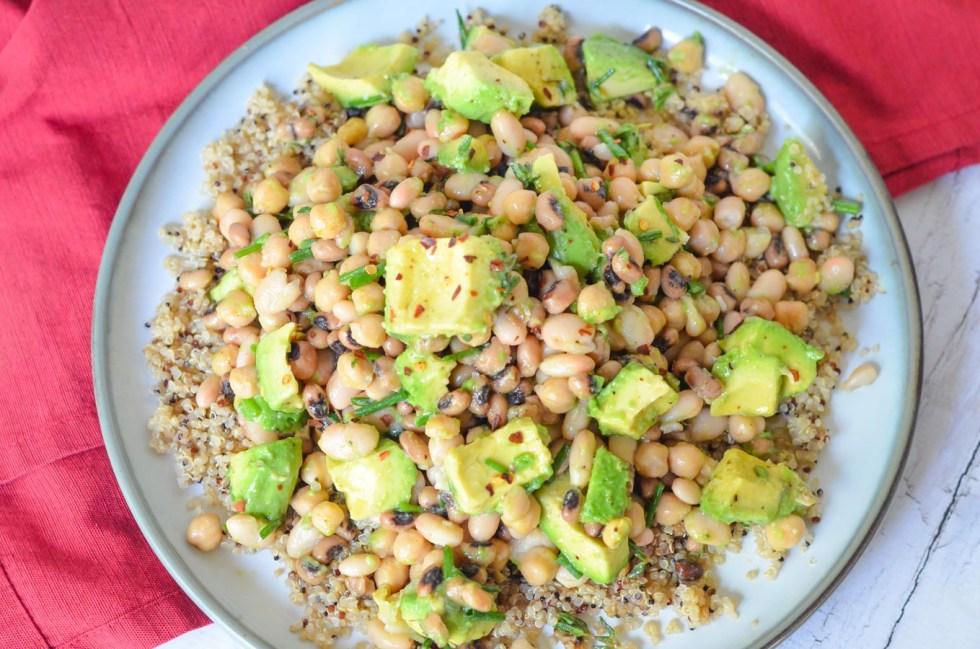 Avocado and Bean Salad w. White Beans - Vegan Recipe