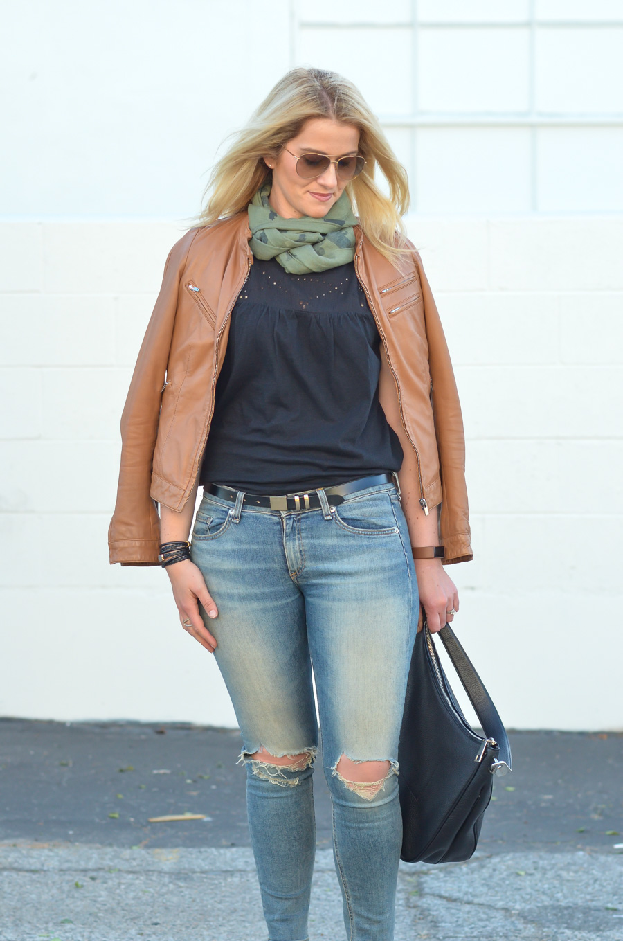 Rag & Bone Ripped Skinny Jeans + Leather Jacket Outfit for Women