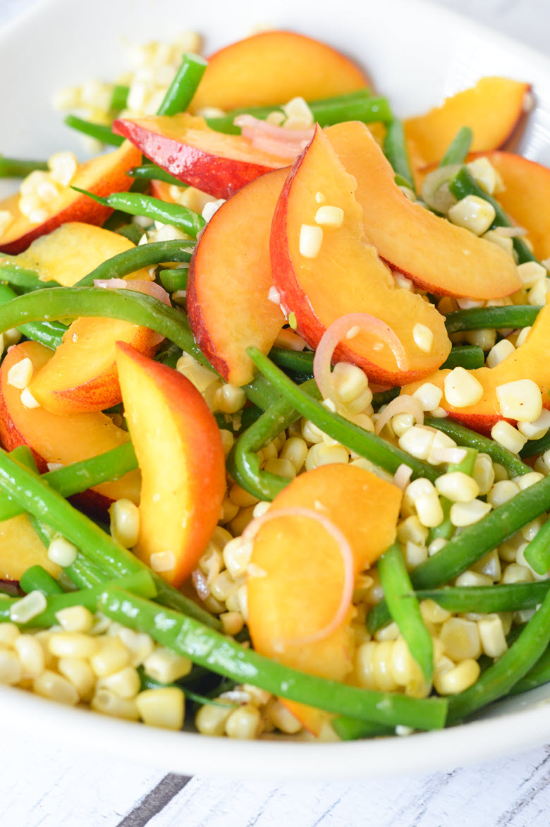 Green Bean, Corn, + Peach Salad