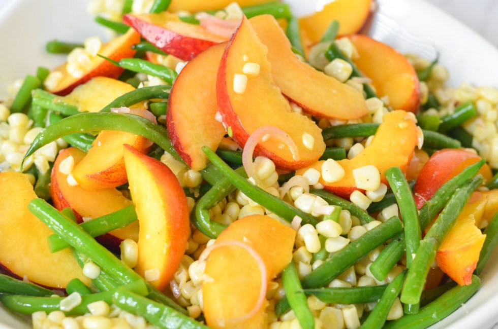 Green Bean, Peach Corn Salad with Summer Fruits and Vegetables