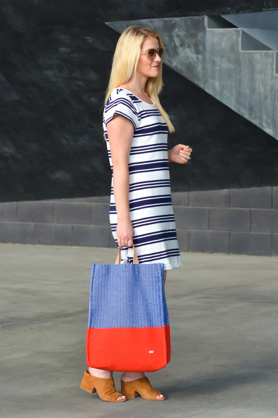 Joie Blue and White Striped Dress Outfit w. Mules + Tote. Summer Outfit.