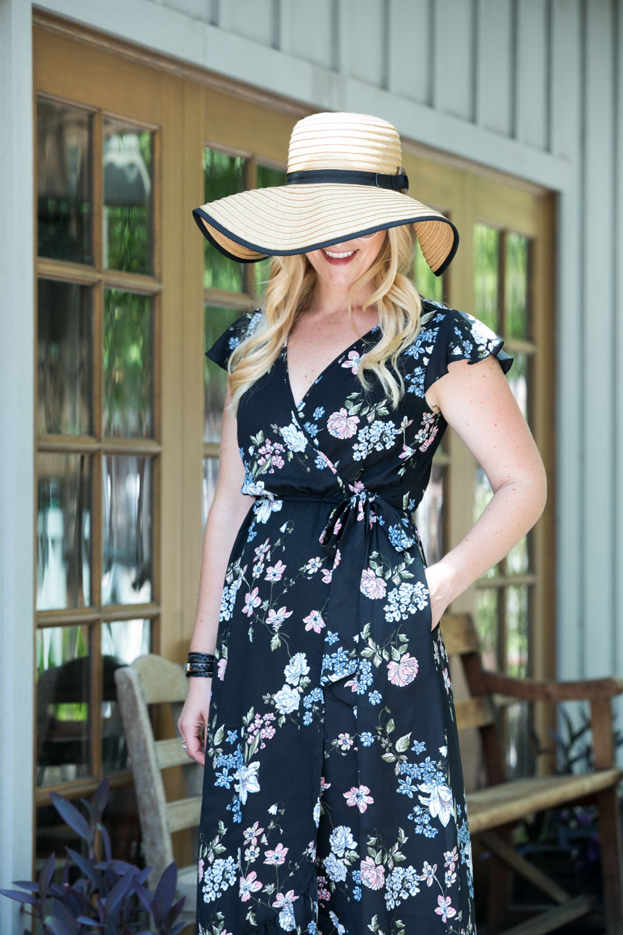 Black Floral Maxi Wrap Dress + Floppy Hat Outfit