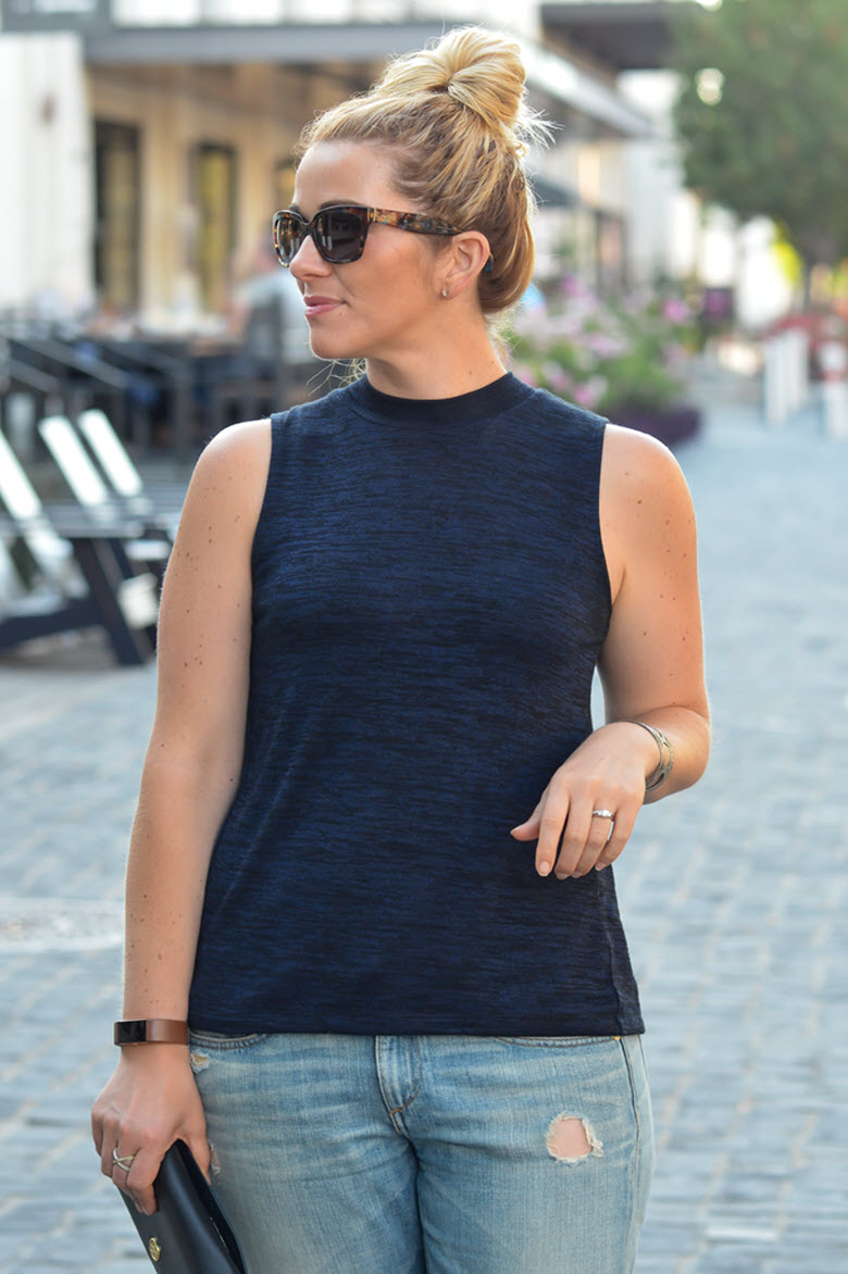 Slick + Sleeveless Turtleneck Outfit for Summer