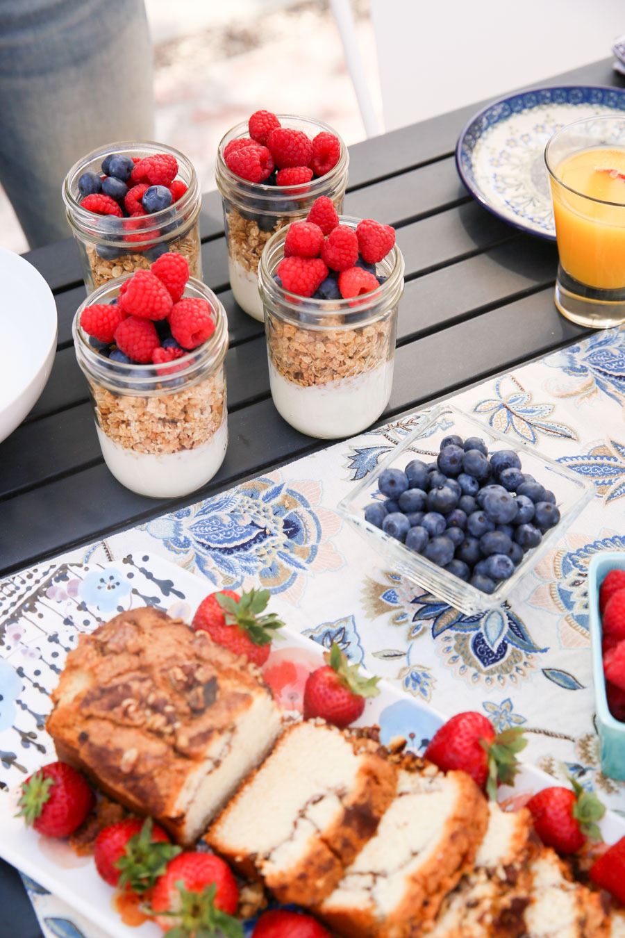 Easy Breakfast/Brunch for 4 w. Yogurt Parfaits, pastries, and brunch sangria. Comes together in 20 minutes. Shopping List included!