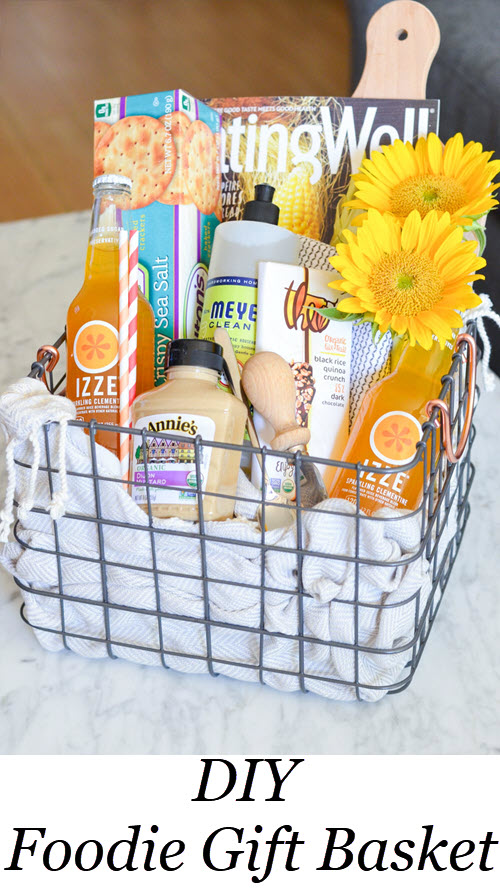 DIY Foodie Gift Basket. DIY Food Lover's Gift Basket w. IZZE drinks, magazines, crackers, spread, flowers, chocolate, etc.! Perfect Homemade Best Friend Gift Idea! #homemade #gifting #gifts #diy #foodie #hostess #hosting #foodlover
