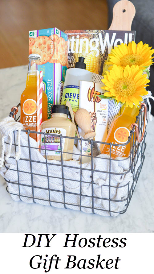 DIY Hostess Gift Basket. DIY Food Lover's Gift Basket w. IZZE drinks, magazines, crackers, spread, flowers, chocolate, etc.! Perfect Homemade Best Friend Gift Idea! #homemade #gifting #gifts #diy #foodie #hostess #hosting #foodlover