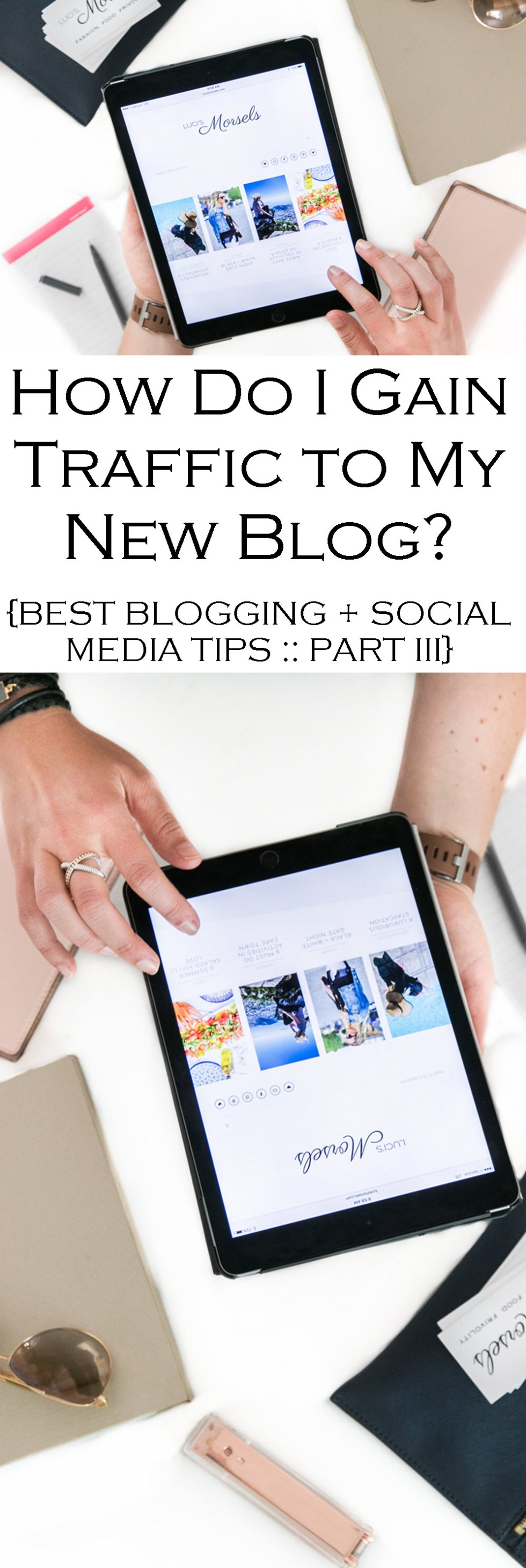 How to Get More Traffic to Your New Blog? Tips, tricks, and the basics to getting more people to visit your site. Best Blogging + Social Media Tips Series.