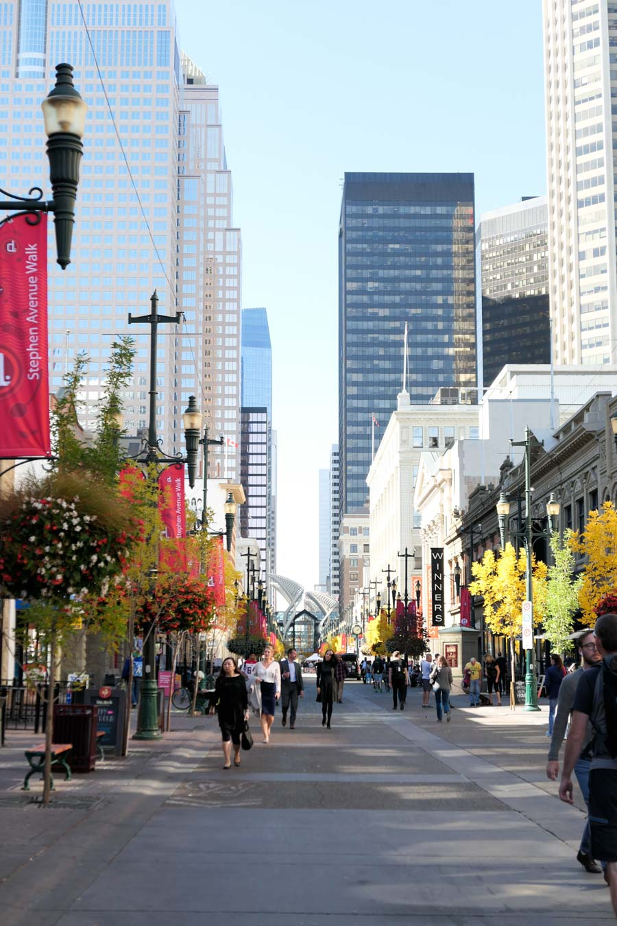 Looking Down Stephen Avenue Walk - Sunny Day with Pedestrians