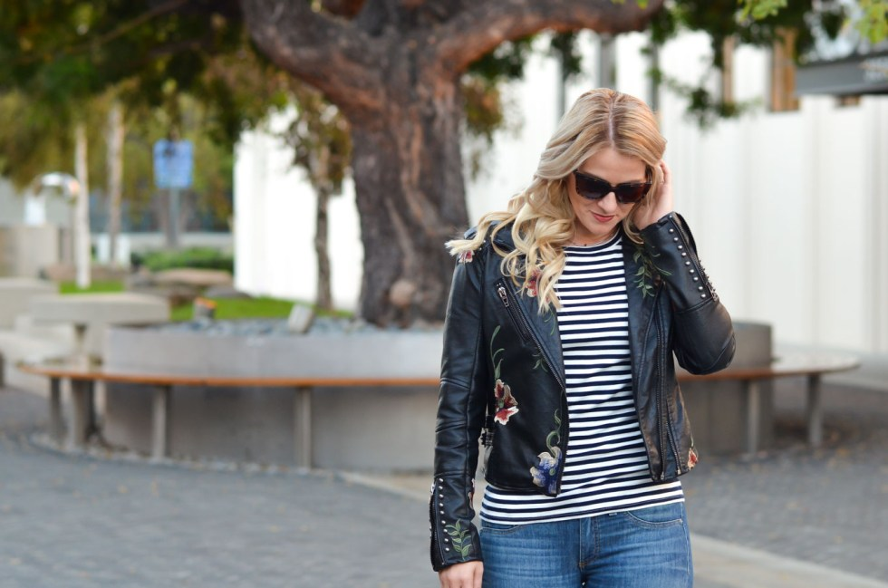 Striped Shirt Outfit with Embroidered Leather Jacket