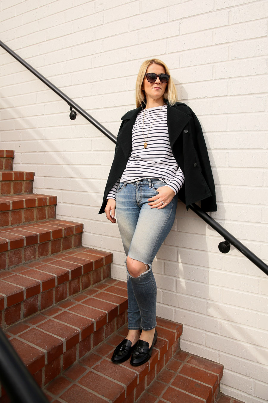 Women's Striped Blazer Outfit with Jeans - Why You Should Buy Some Clothes too Big