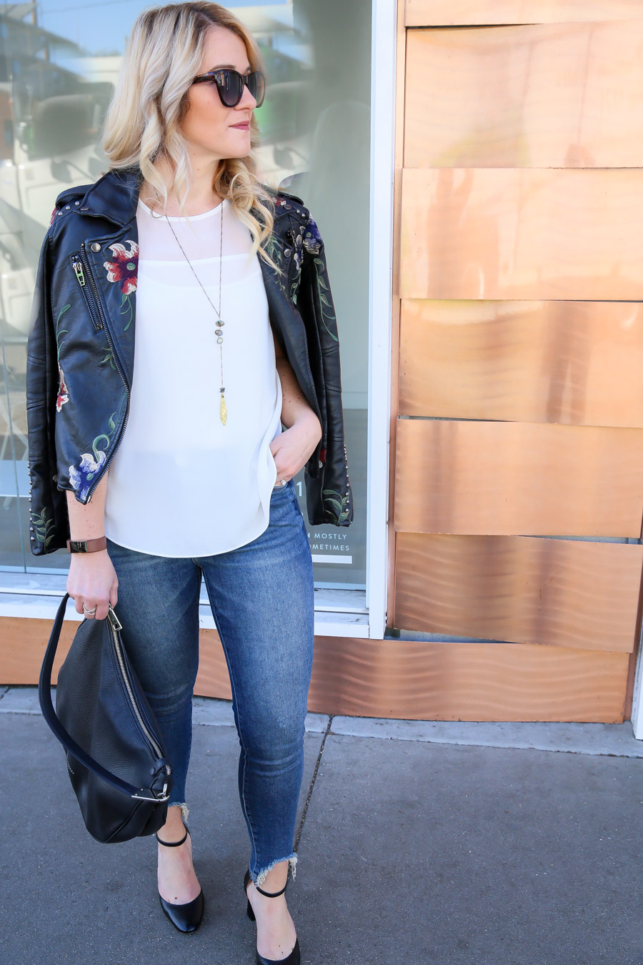 Last Minute Date Night Embroidered Leather Jacket Outfits