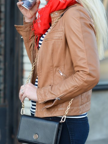 French Style Leather Jacket Outfit with Striped Tee