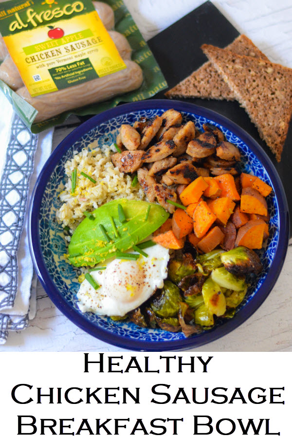 Want a healthy sausage recipe? This chicken sausage grain bowl is a perfect breakfast bowl and dinner bowl too. Loaded with veggies and whole grains, it's delicious top to bottom! #LMrecipes #wholegrains #breakfast #breakfastrecipes #dinner #dinnerrecipes #chickensausage #sausage #foodblogger #foodblog
