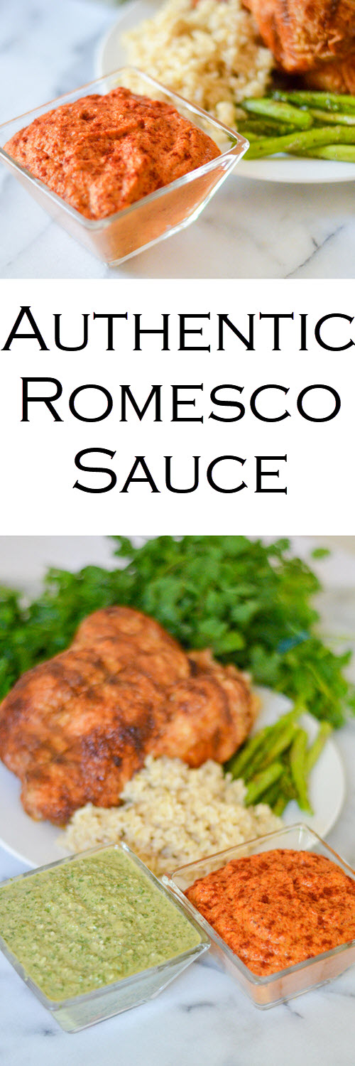 Authentic Romesco Sauce Recipe (Roasted Bell Pepper Sauce). An easy sauce recipe for chicken, meat, and vegetables. Great for a bbq or potluck - summer or winter. #sauce #saucerecipe #sidedish #potluckdishes #potluck #bbq #LMrecipes #bellpeppers #roastedbellpeppers #romesco