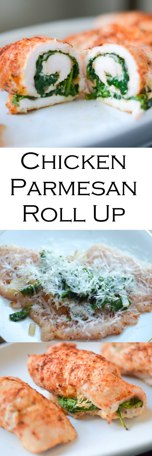 Healthy, Baked Chicken Parmesan Roll Up Recipe. An easy and light weeknight dinner that's gluten-free and low-carb. #lmrecipes #glutenfree #gf #gfrecipes #chicken #chickendinner #chickenrecipes #healthy #healthydinner #lowcarb #lowfatrecipes #foodblog #foodblogger