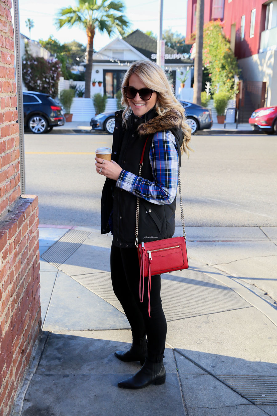 Plaid Shirt with Black Vest Outfit with Red Purse