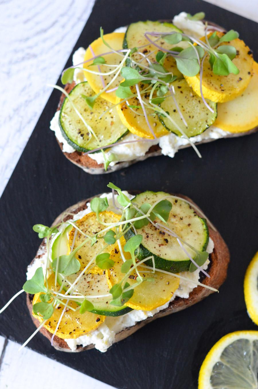 Ricotta Toast w. Zucchini Squash + Lemon Zest