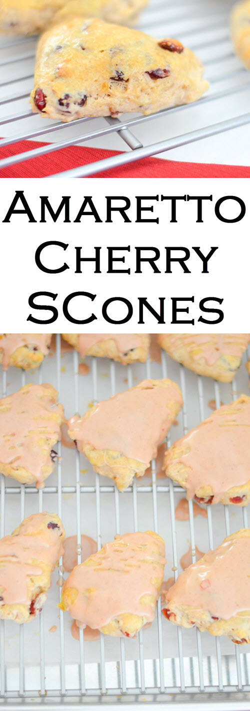 These mini scones are delicious and perfect for a crowd or with brunch. Cherry scones mixes with amaretto are the most delectable high tea scone treat.