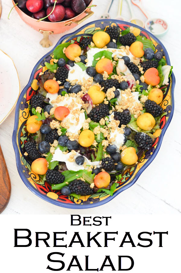 Best Breakfast Salad. Blackberry, Blueberry, Cherry Burrata Breakfast Salad Recipe. A healthy and delicious salad for brunch or lunch with friends. An easy fruit salad with lettuce and burrata.
