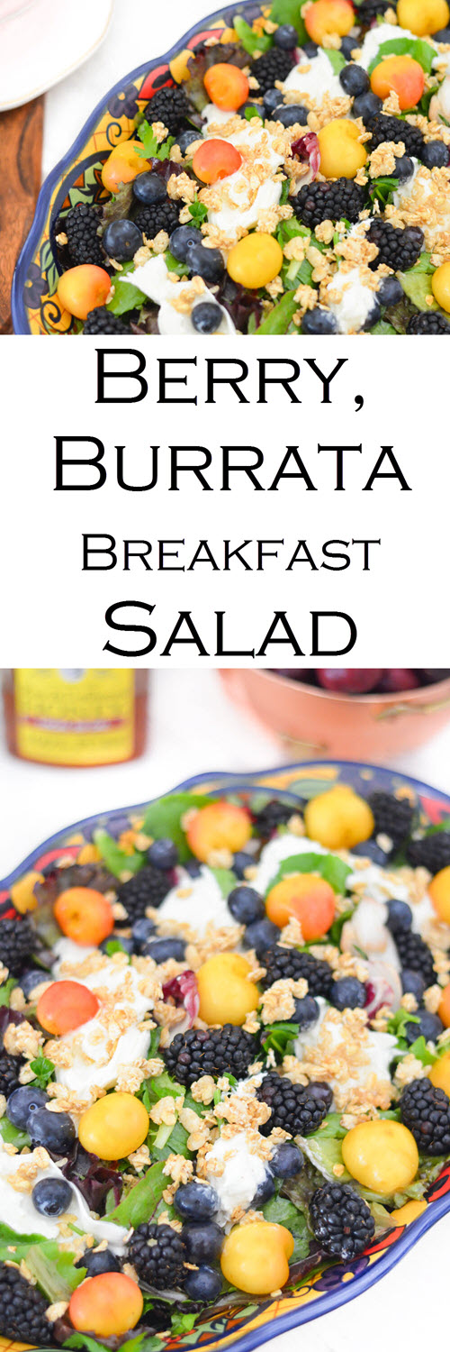 Blackberry, Blueberry, Cherry Burrata Breakfast Salad Recipe. A healthy and delicious salad for brunch or lunch with friends. An easy fruit salad with lettuce and burrata.
