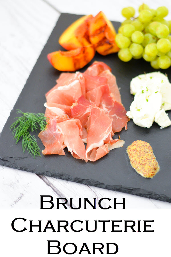 Brunch Charcuterie Board w. Shopping List. Brunch Charcuterie Board for Breakfast - Shopping List + layout w. three cured meats, 2 cheese, toppings, and fruits to serve!