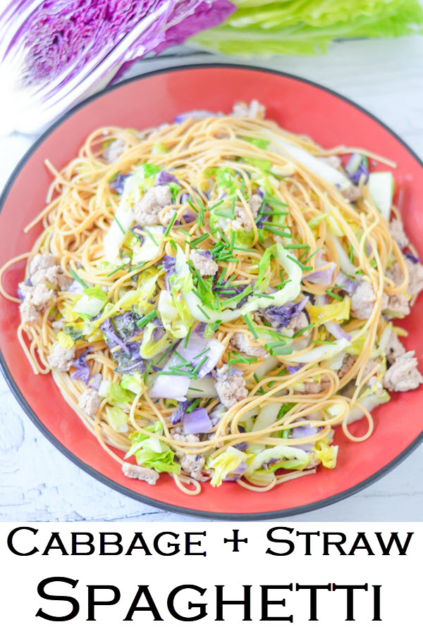 Cabbage + Straw Spaghetti. Easy weeknight dinner recipe for cabbage and pasta. Cut back on carbs with shredded cabbage. Made with ground turkey for a protein-filled, healthy weeknight dinner everyone in the family will enjoy!