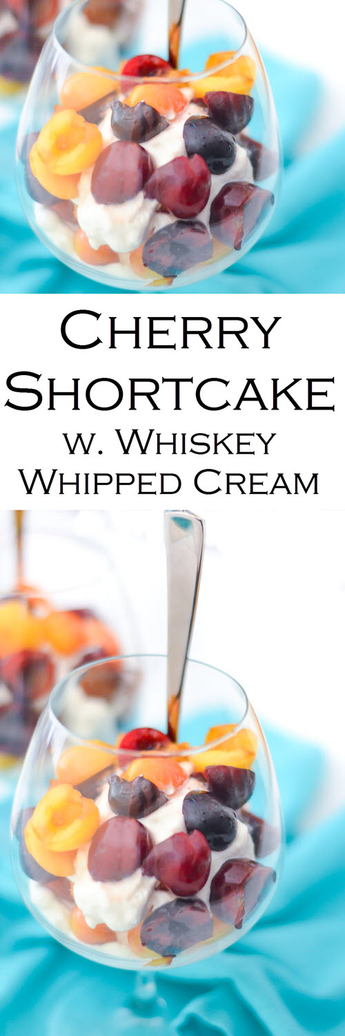 Best Cherry Shortcake Recipe. Homemade cherry shortcake with a homemade angel food cake recipe and whiskey whipped cream. A delicious summer dessert with fresh fruit.