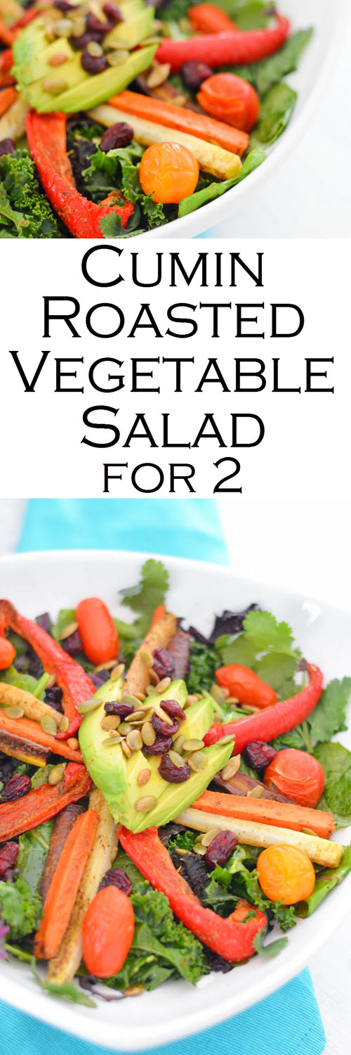 Cumin Roasted Vegetable Salad Recipe. A Healthy, Vegan Entree Recipe for Two.