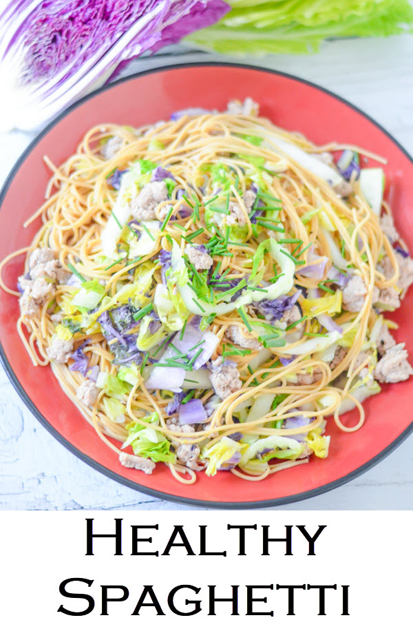 Healthy Spaghetti. Easy weeknight dinner recipe for cabbage and pasta. Cut back on carbs with shredded cabbage. Made with ground turkey for a protein-filled, healthy weeknight dinner everyone in the family will enjoy!