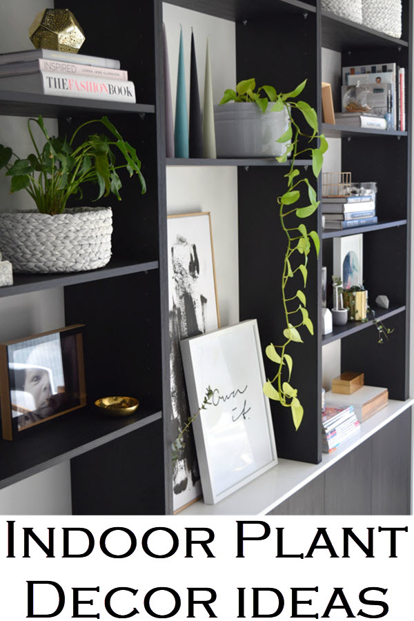 Indoor Plant Decor Ideas. Decorate your living room, bookshelf, kitchen, and dining room with houseplants. A 2018 home decor trend, house plants are the way to easily add color to your home.