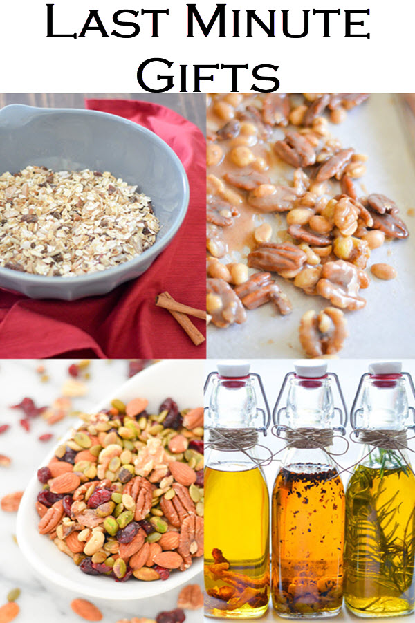 Last Minute Gift Ideas. Edible gifts you can make last minute can be the most memorable. Homemade sugared nuts, muesli, infused olive oil, and so much more with homemade gift packaging ideas.
