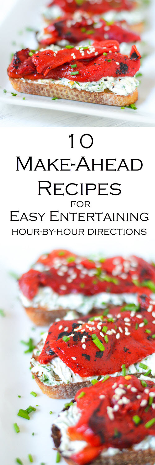 Make Ahead Recipes + Tips for Easy Entertaining. These step-by-step tips for hosting include make-ahead recipes for dinner parties that everyone will love. Easy dinner parties and entertaining have never been more fun!