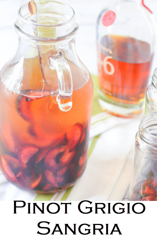 Pinot Grigio Sangria Recipe. This plum sangria recipe comes together quickly and is an easy drink recipe for summer. Great entertaining recipe as well!
