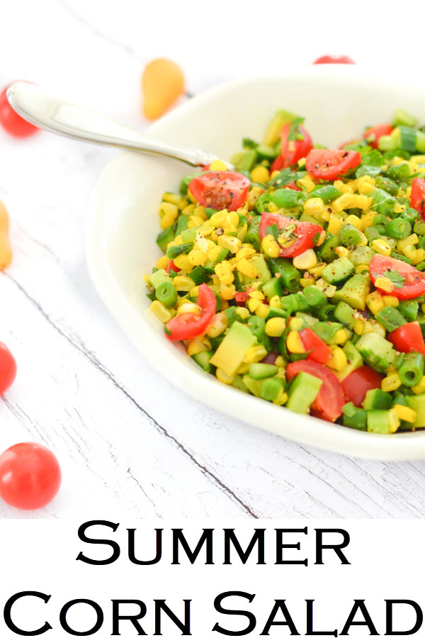 Summer Corn Salad. California Succotash Salad. Delicious Summer Vegetable recipe with Green Beans, Corn, Avocado, Cucumber, Tomatoes. A healthy, vegan recipe everyone will love.
