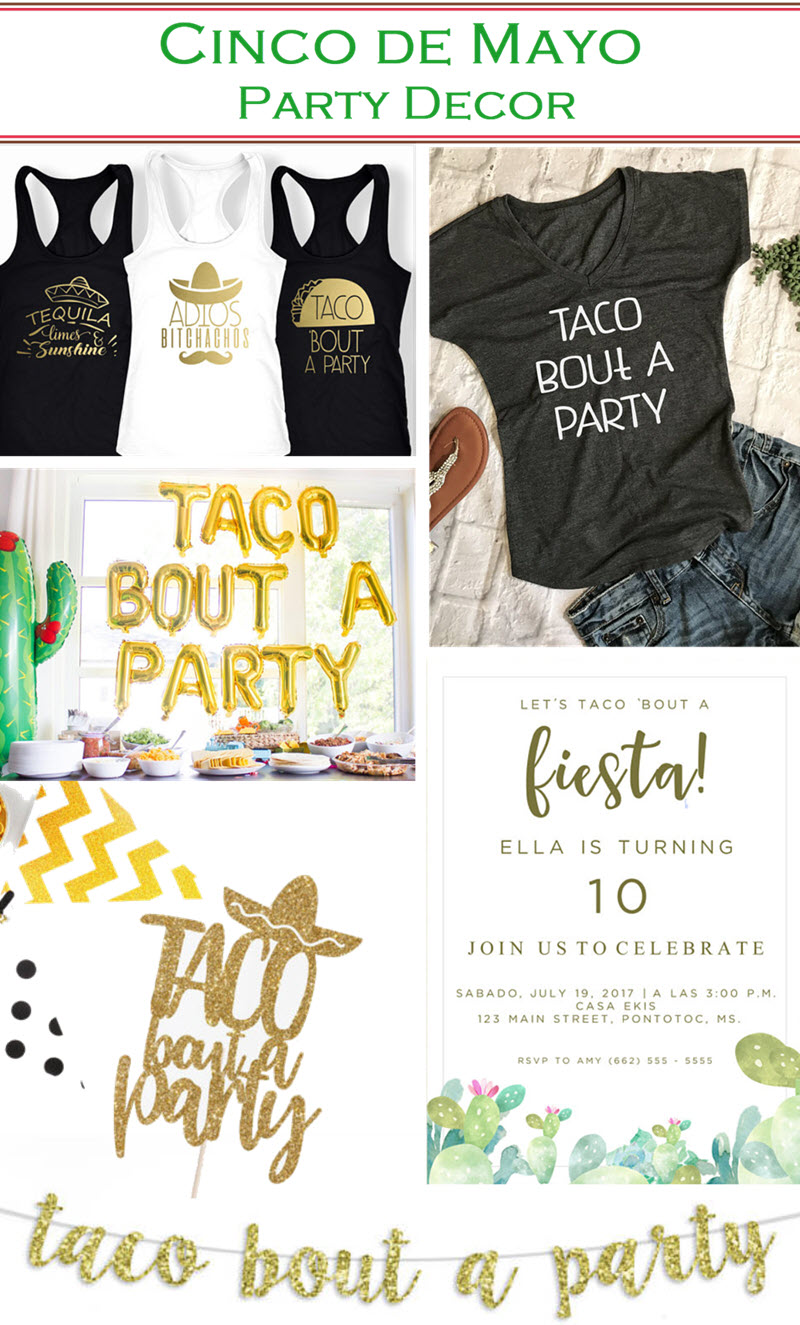 "Cinco de Mayo Decorations Ideas. Throw a fun Cinco de Mayo Party with the succulent cactus themed party and fun Etsy party decor for ""Taco bout a Party."""