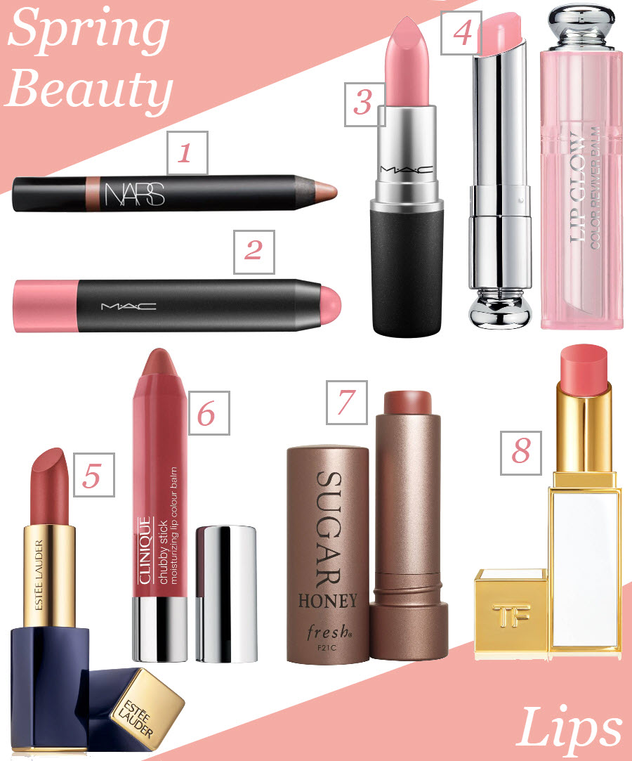 Lips colors for spring. Pink lipsticks and tinted chapsticks for spring. Spring Beauty Must-Haves.
