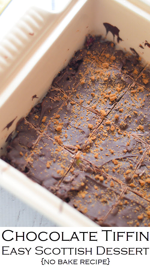 Chocolate Tiffin Recipe with Candied Orange - Easy Scottish Dessert Recipe. Semi-sweet chocolate chips mixed wtih cookie crumbs and dried fruit. This easy no bake dessert is perfect for all ages and easy to make ahead! #recipe #lmrecipes #chocolate #dessert #foodblog #dessertrecipe #nobake #summerfood