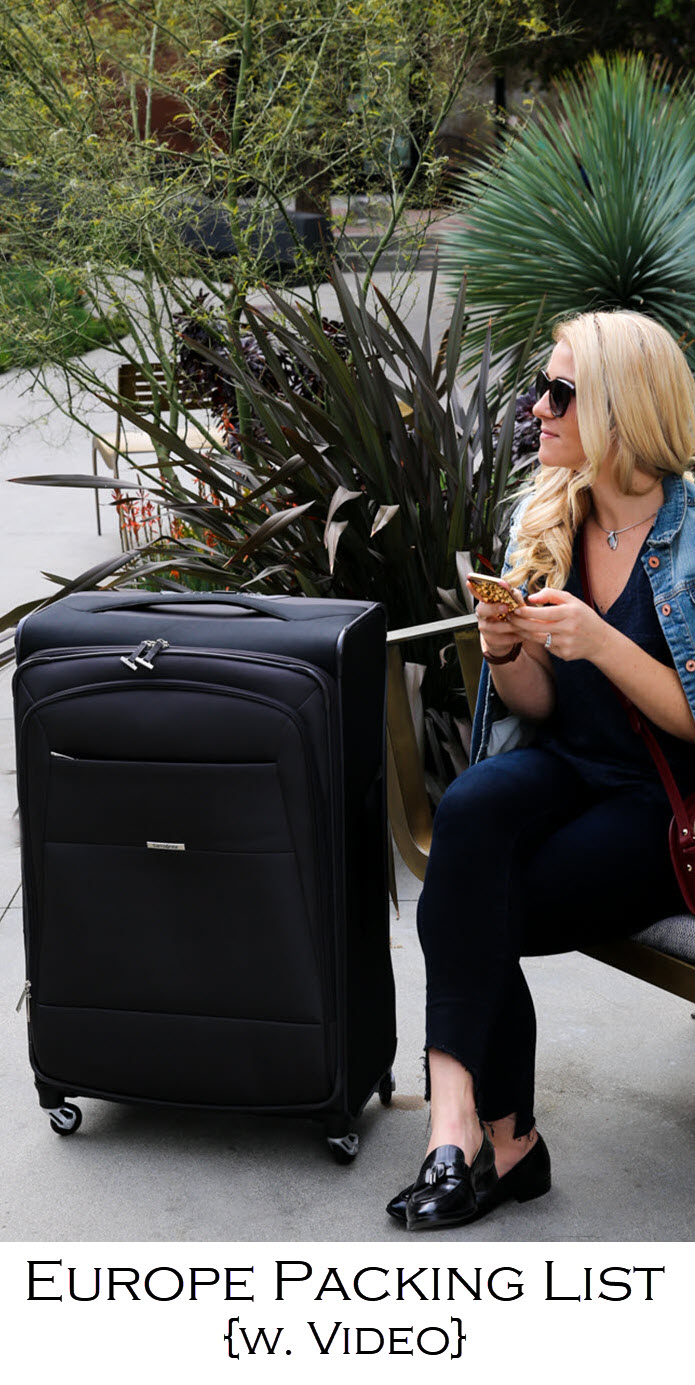A complete Europe Packing List . Complete with a winter packing list and for extended stay. A packing tip video. Samsonite Eco Nu Review with international travel tips.