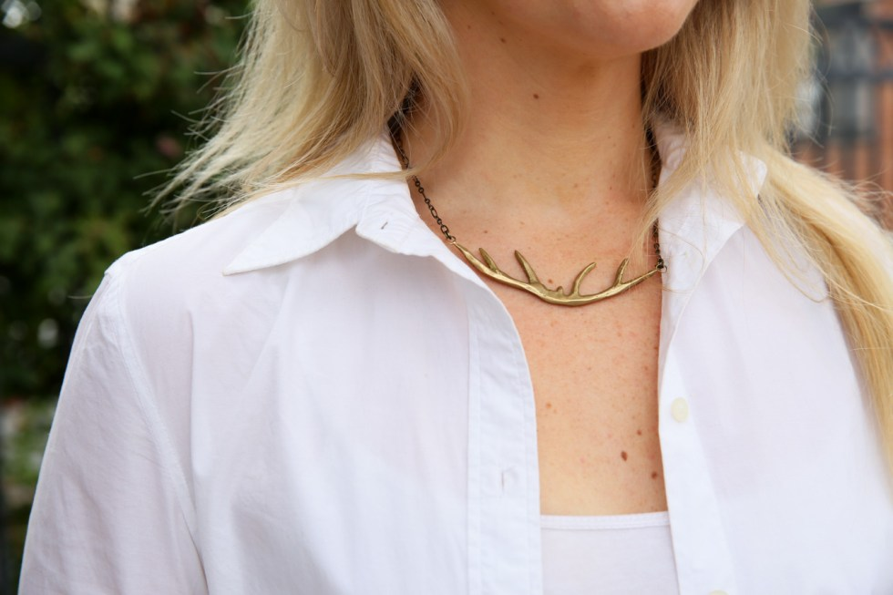 Khaki Pants Outfit - White Shirt w. Gold Antler Necklace by Natalie Frigo
