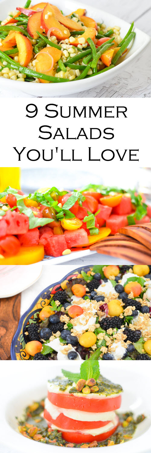 9 Healthy Summer Salads w. Fresh Summer Fruits + Vegetables. Healthy recipes for green beans, corn, heirloom tomatoes, cherries, berries, watermelon. #healthy #foodie #summer #bbq #potluck #recipes #homemade #lmrecipes