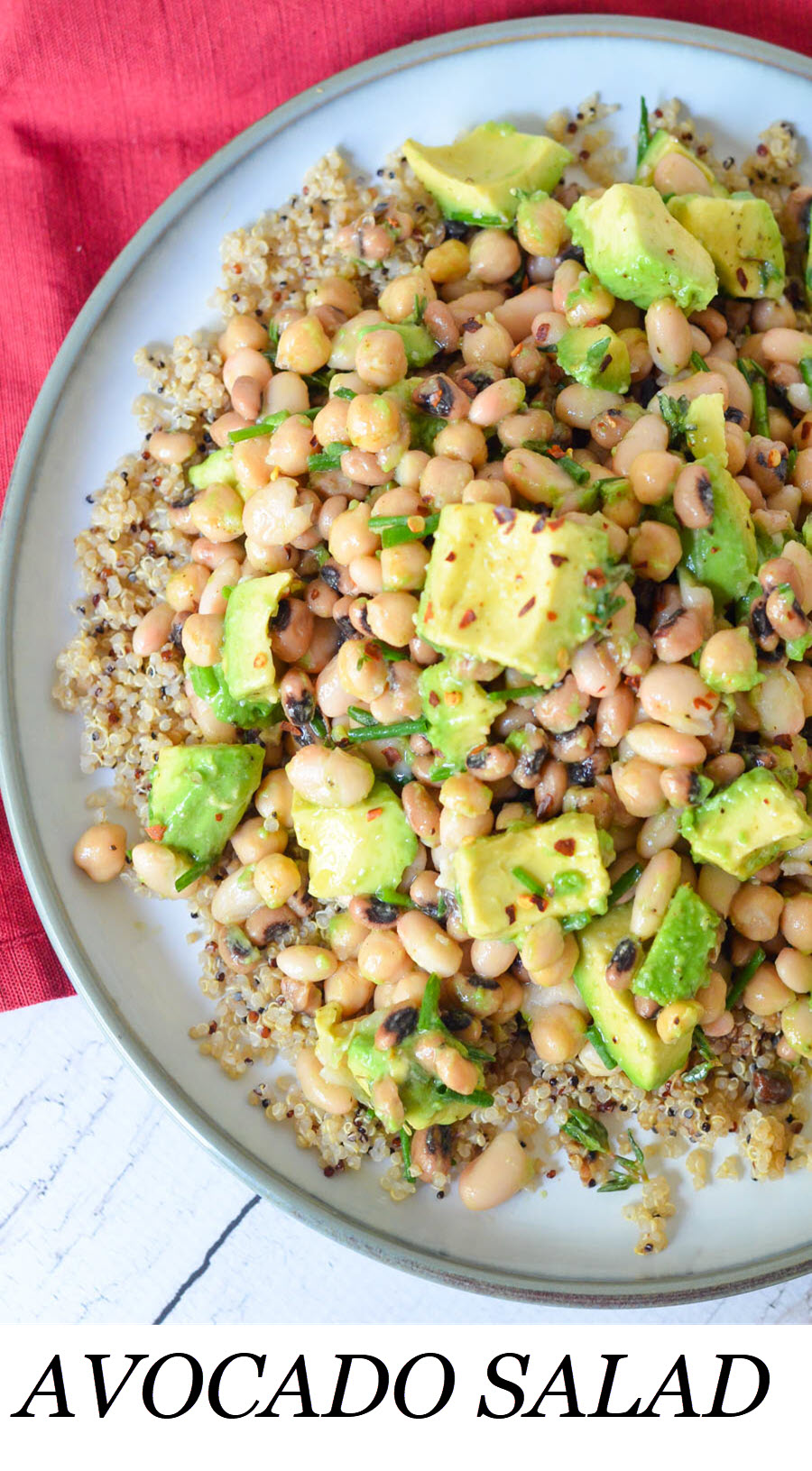 Avocado + White Bean Salad made with three kinds of white beans. A delicious, protein-filled side dish, salad topping, or entree. Healthy, Delicious, and it comes together in less than 5 minutes! #healthy #avocado #salad #sidedish #potluck #summerrecipes #lmrecipes #vegan #vegetarian #plantbased #glutenfree