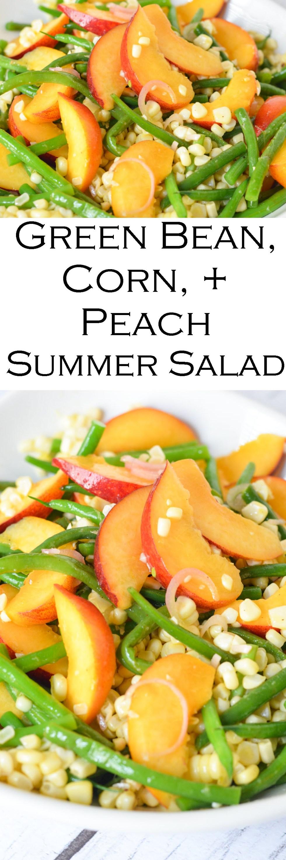 Green Bean, Peach, Corn Salad with Summer Fruits and Vegetables. Green Bean, Peach, Corn Salad with Summer Fruits and Vegetables. #healthy #foodblog #sidedish #potluck #july4 #bbq #homemade #corn #peaches #greenbeans #plantbased #vegan #vegetarian #healthy #lmrecipes