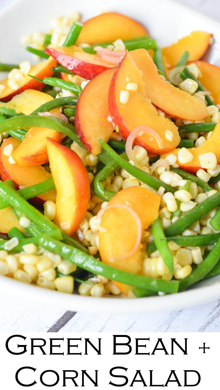 Green Bean, Peach, Corn Salad with Summer Fruits and Vegetables. #healthy #foodblog #sidedish #potluck #july4 #bbq #homemade #corn #peaches #greenbeans #plantbased #vegan #vegetarian #healthy #lmrecipes