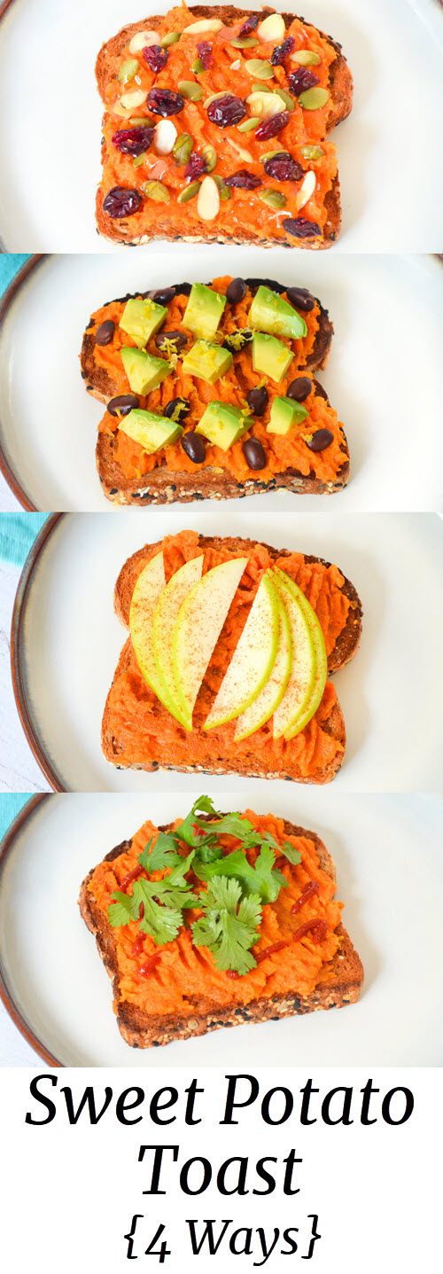 Mashed Sweet Potato Toast Toppings Ideas including sweet and savory options. Avocado and black beans to apples and honey. #healthy #lmrecipes #healthyrecipe #healhtylunch #sweetpotatoes #snacks #vegetarian #lunch
