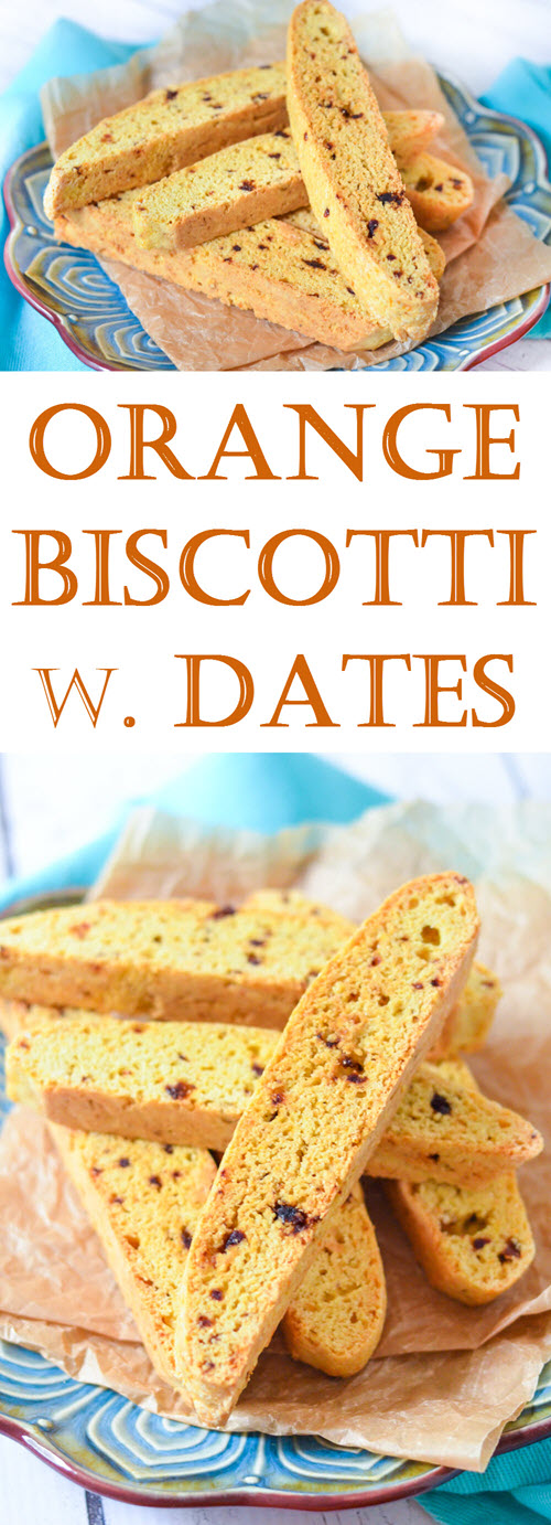 Orange Biscotti w. Dried Dates + Vanilla. Easy, homemade biscotti recipe. Dried date recipe. #cookies #foodblog #recipe #lmrecipes #dessert #brunch #breakfast #italian