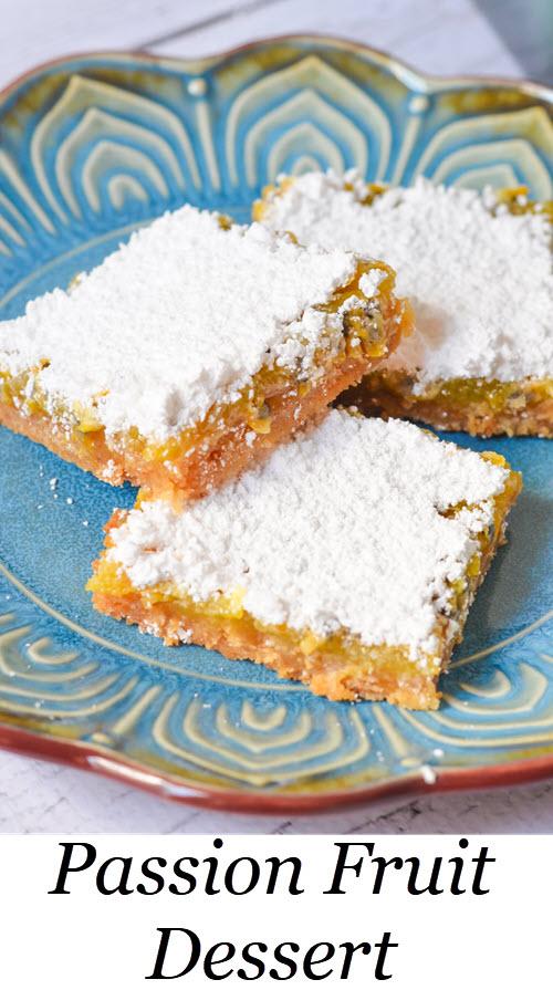Passion Fruit Bars w. Graham Cracker Crust. These Passion Fruit Dessert Bars are a fun twist on classic lemon bars using fresh passion fruit pulp! #dessert #passionfruit #foodblog #dessertaddict #sweetooth #homemade #lmrecipes