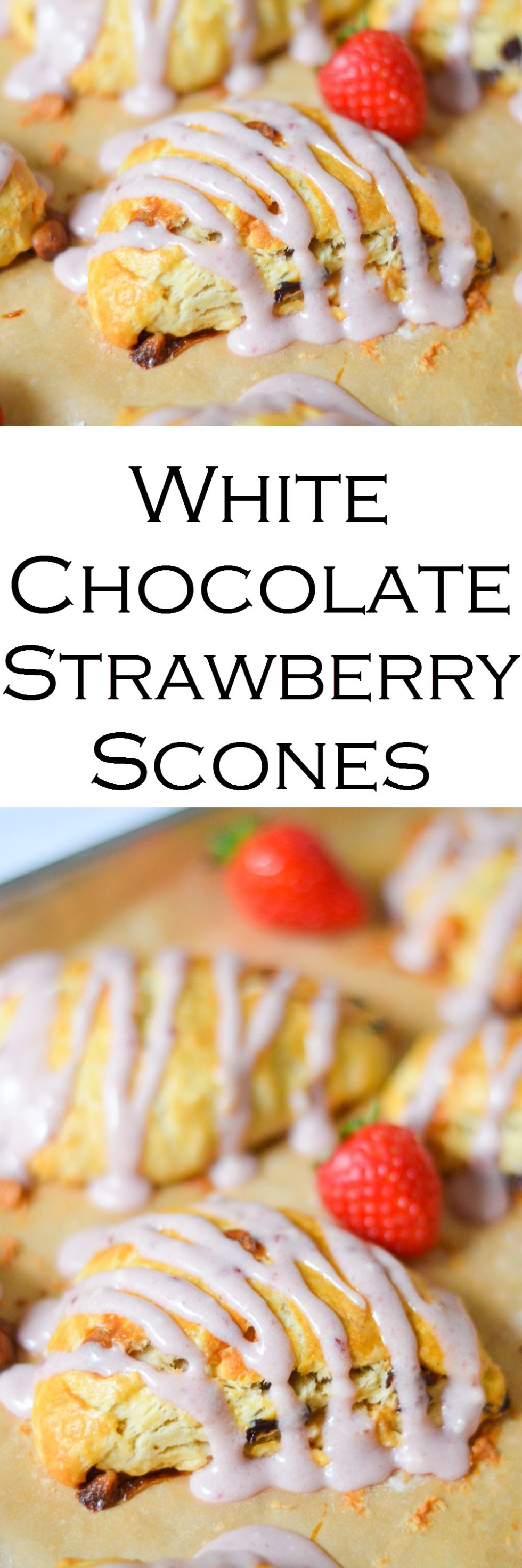 White Chocolate Strawberry Scones w. Strawberry Icing Drizzle. Fun summer breakfast or dessert. Dried strawberry recipe. #breakfast #breads #baking #foodblog #strawberries #lmrecipes #foodblogger #brunch